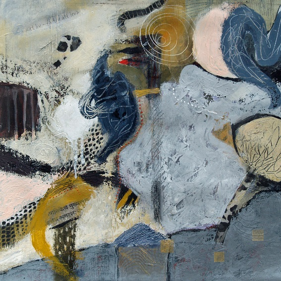 Time to live, mixed media on canvas, Carina Linne.